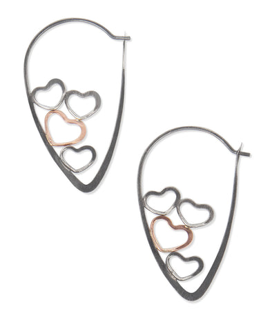 Cluster Heart Earth Love Hoop Earrings