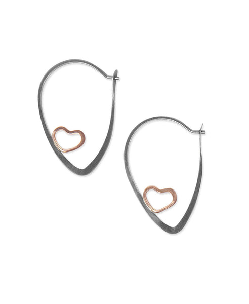 Single Heart Earth Love Hoop Earrings