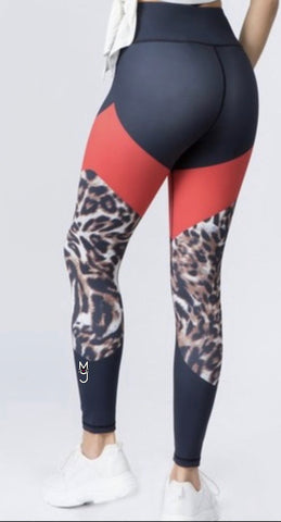 The Latasha, High Rise Cheetah Print Active Color block Legging, w/M.T.A.P. Kitty Emblem