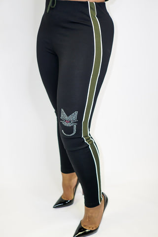 The Kimber Leggings, M.T.A.P. Kitty  Rhinestone Leggings