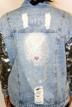 Load image into Gallery viewer, The Leah, Sequin Sleeve MTAP Kitty Denim Jacket