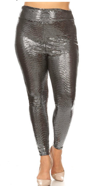 The Naomi, Silver Sequin Legging