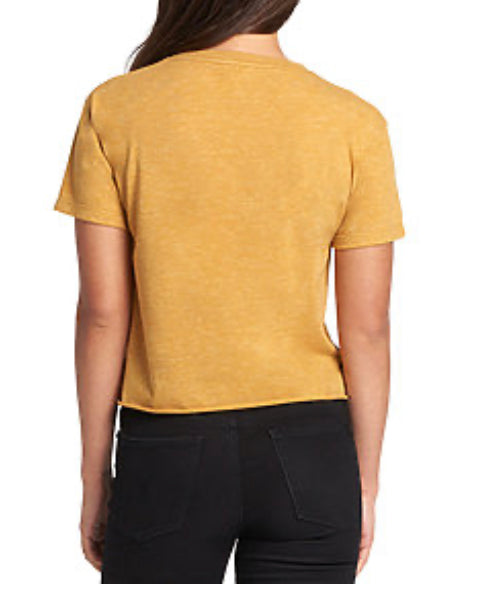 Big Kitty Cropped Tee, Mustard