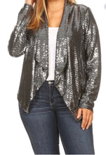 Load image into Gallery viewer, The Naomi, Silver Sequin Jacket