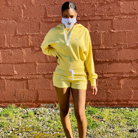 The Breonna Taylor Zip Front Semi-Cropped Hoodie w/shorts-Yellow