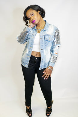 The Leah, Sequin Sleeve MTAP Kitty Denim Jacket