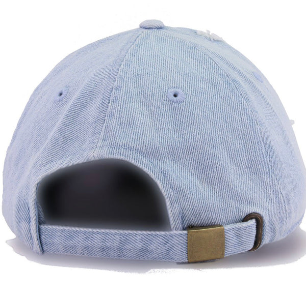 The Monica, Light Denim Distressed Dad Hat