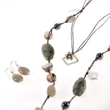 Pearls, Labradorite, Hematite and Shell Necklace and Earring Set