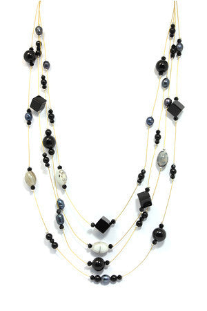 Agate, Hematite and Freshwater Pearl Necklace Set