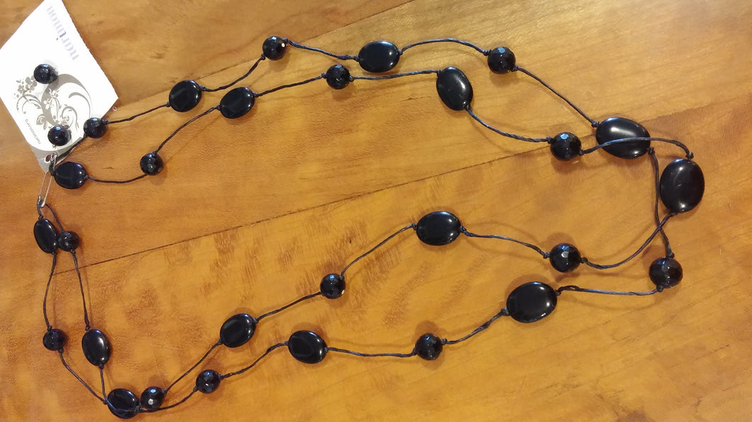 Black Agate Ovals and Balls on Black Rope Necklace with Matching Earrings