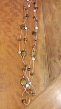 Tiger Eye and White Agate Rope Necklace