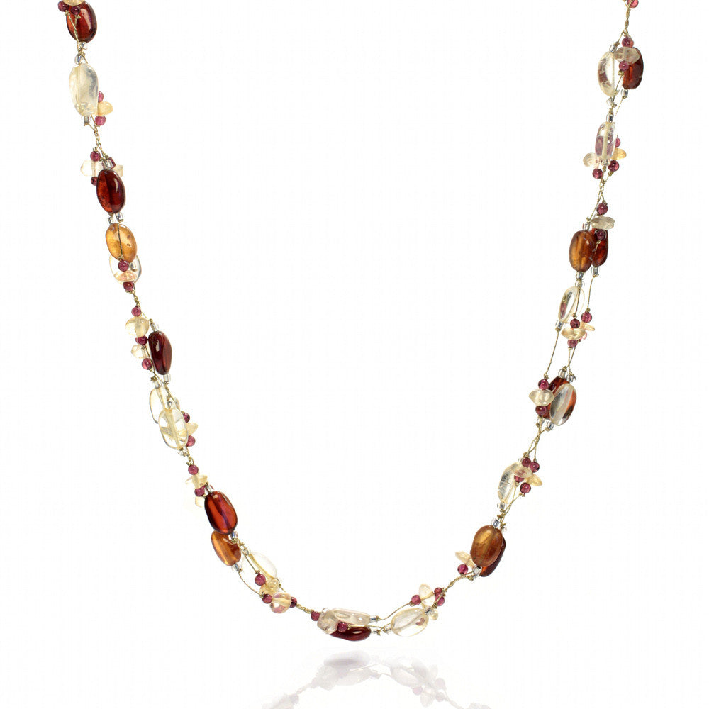 Yellow Citrine and Garnet Necklace and Earring Set