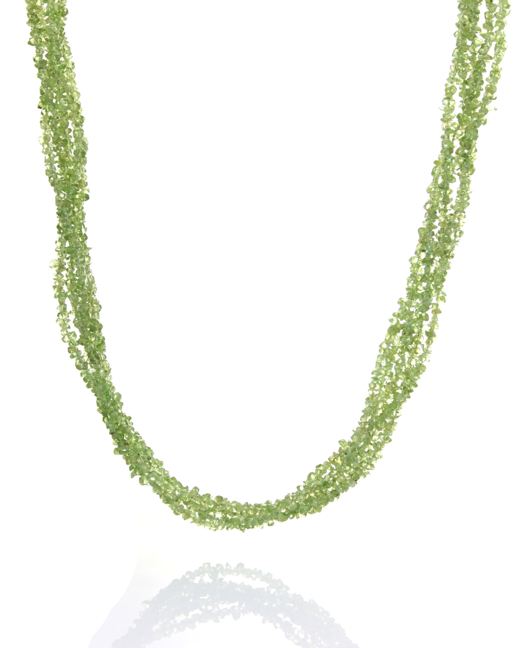 Peridot and Silver 5-Stranded Necklace and Earrings