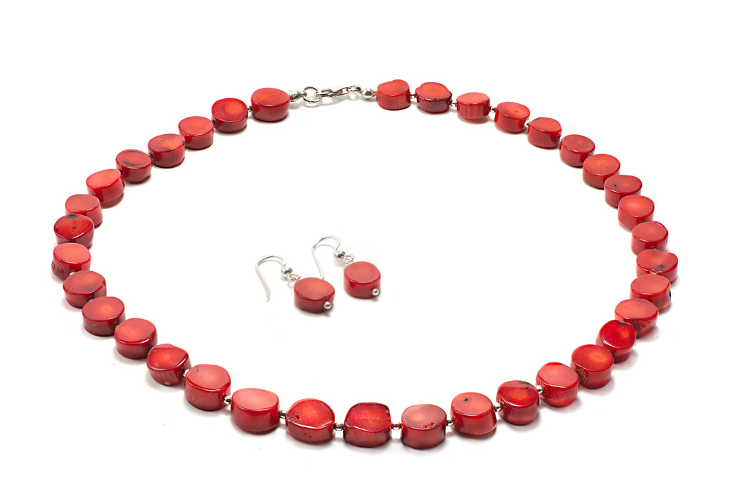 Coral and Silver Bead Necklace and Earrings