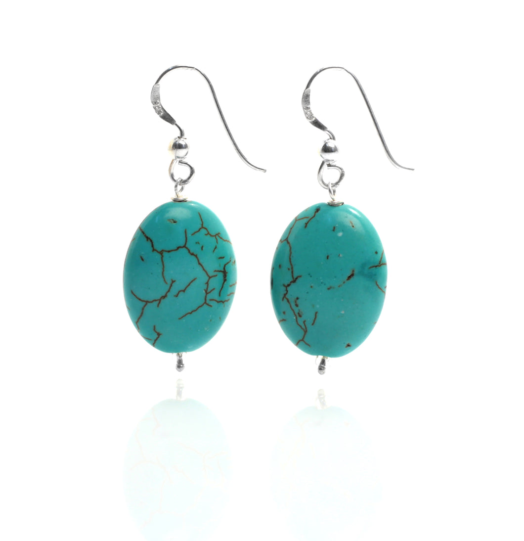 Turquoise Howlite Oval Earrings