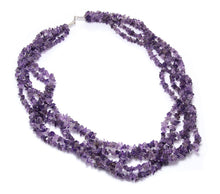5 Strand Amethyst Necklace with Matching Earrings Set