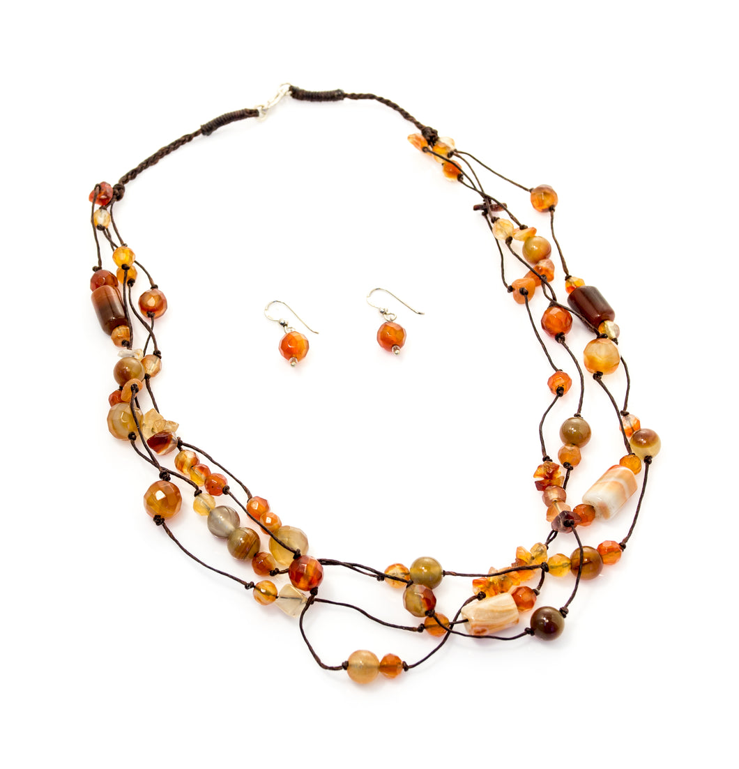 Carnelian Triple Rope Necklace and Matching Earrings