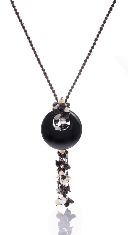 Black Agate Circle and Chips Necklace