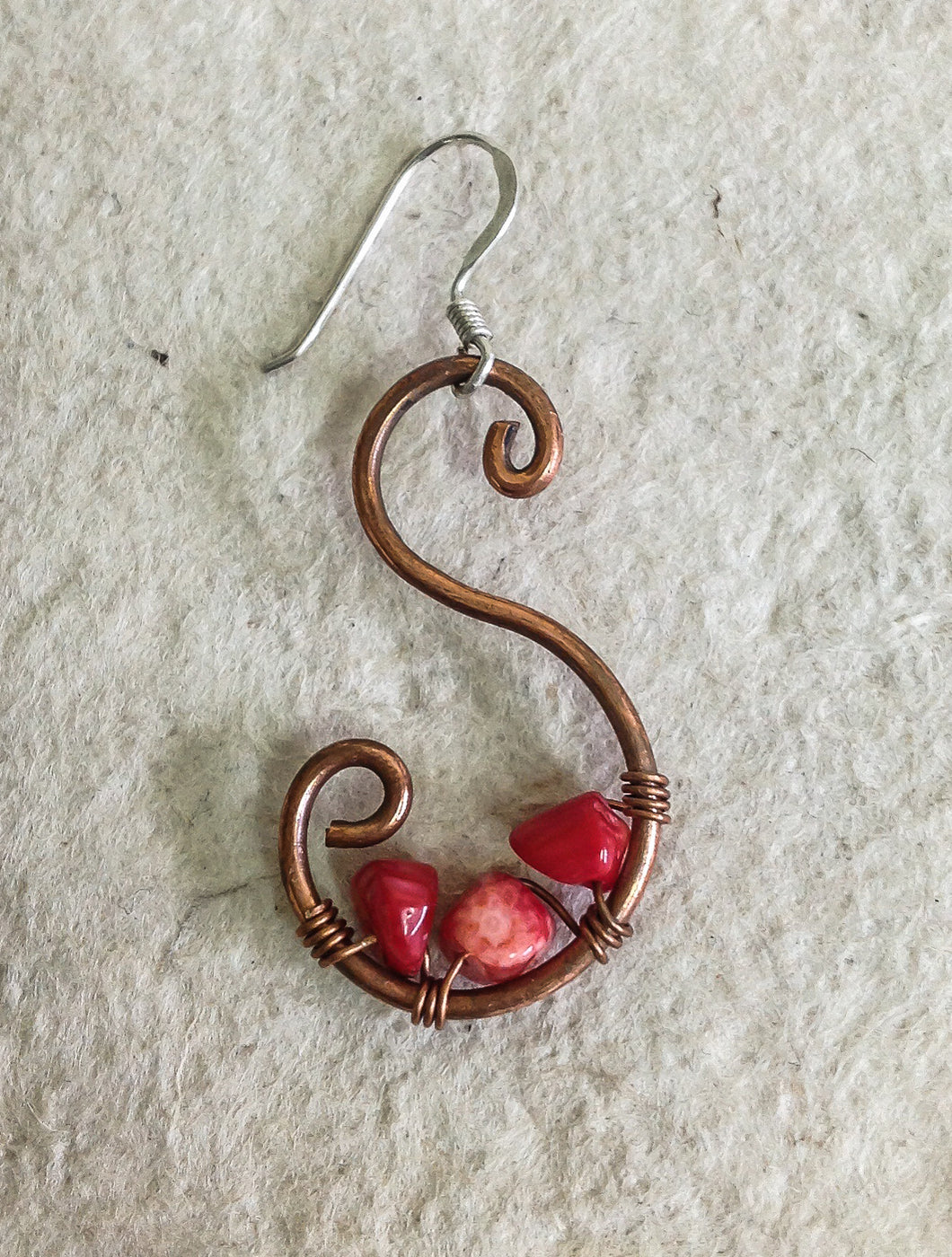Coral and Copper Curled Earrings