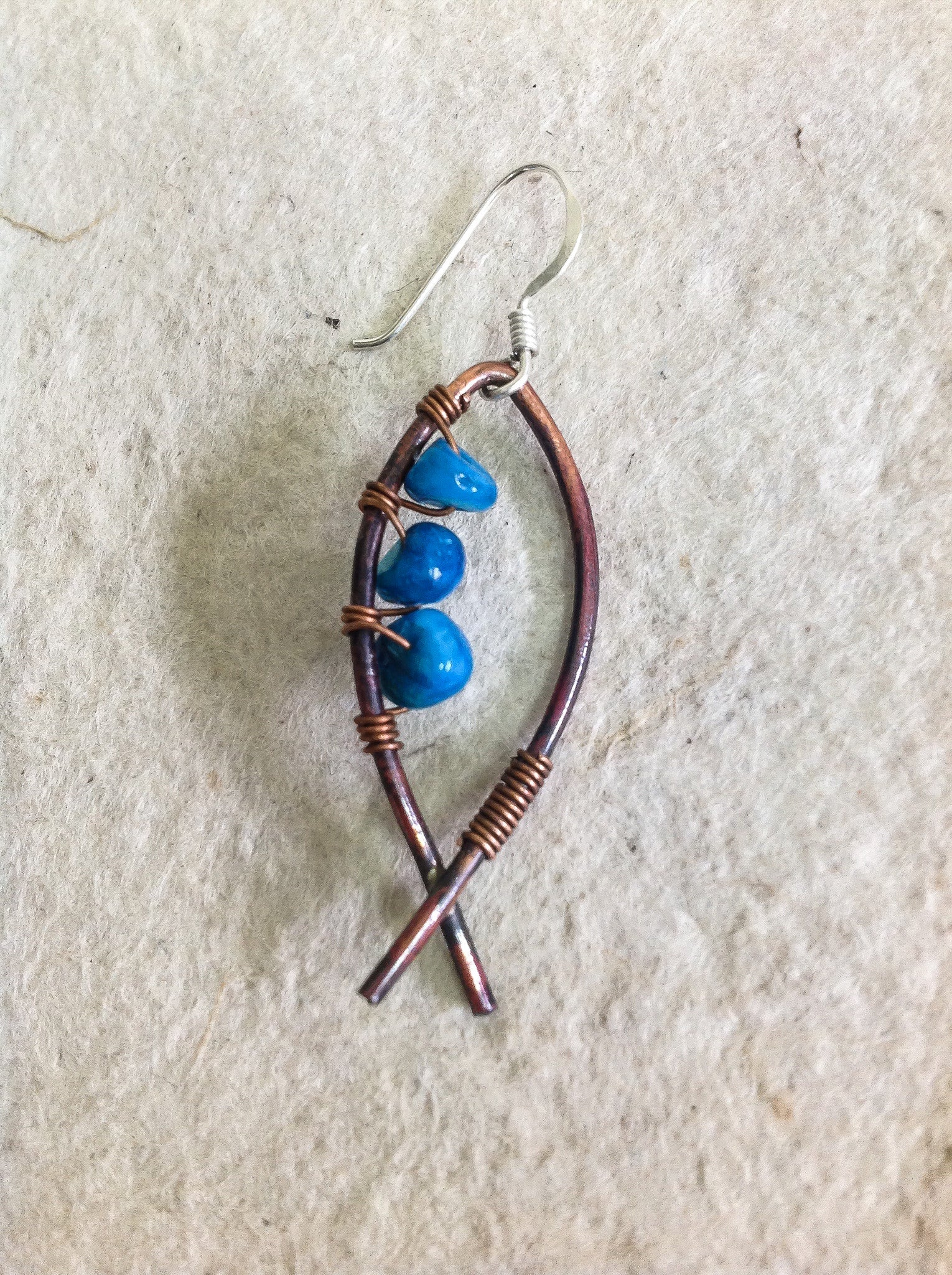Copper Ichthus earrings