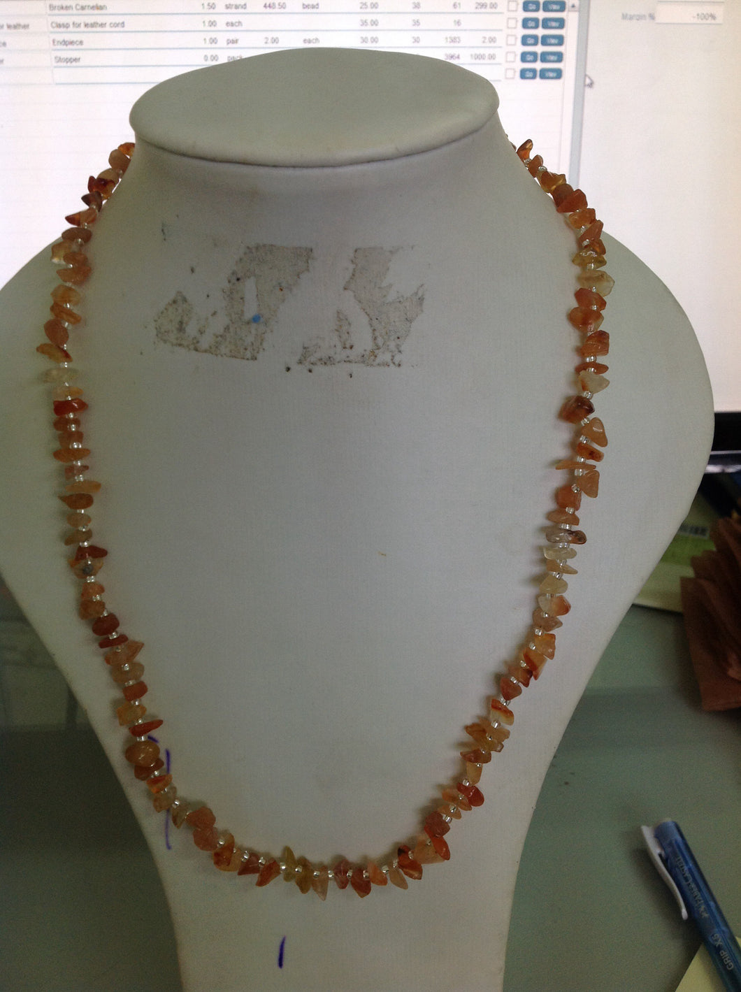 Carnelian Chips and Silver Balls Necklace