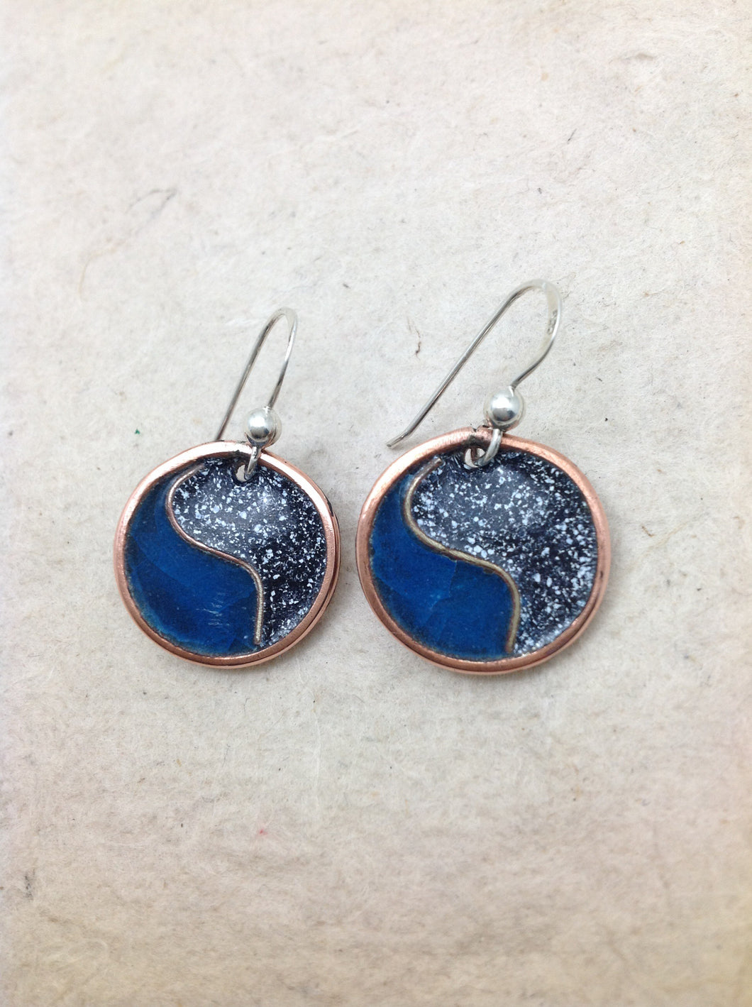 Enameled Circle Bi-Color Earrings