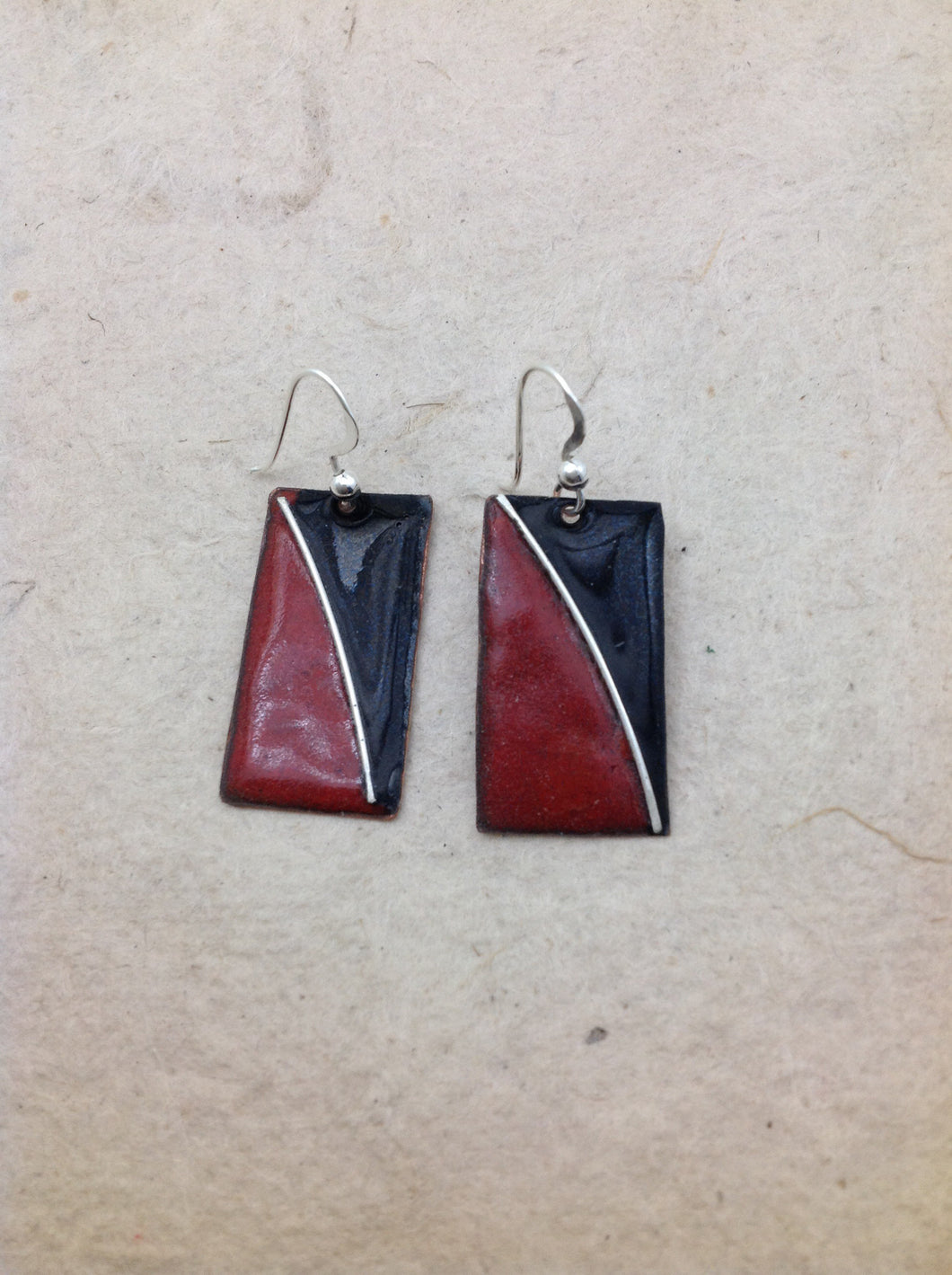 Enameled Bi-Color Rectangle Earrings