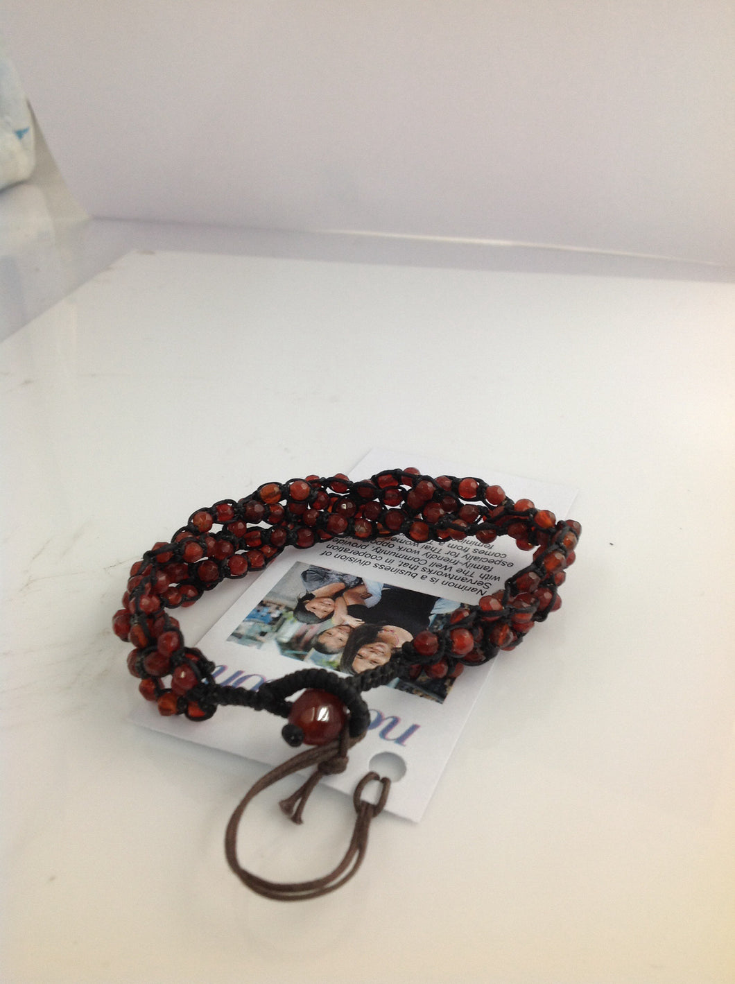 Carnelian Beads and Black Crocheted Rope 9