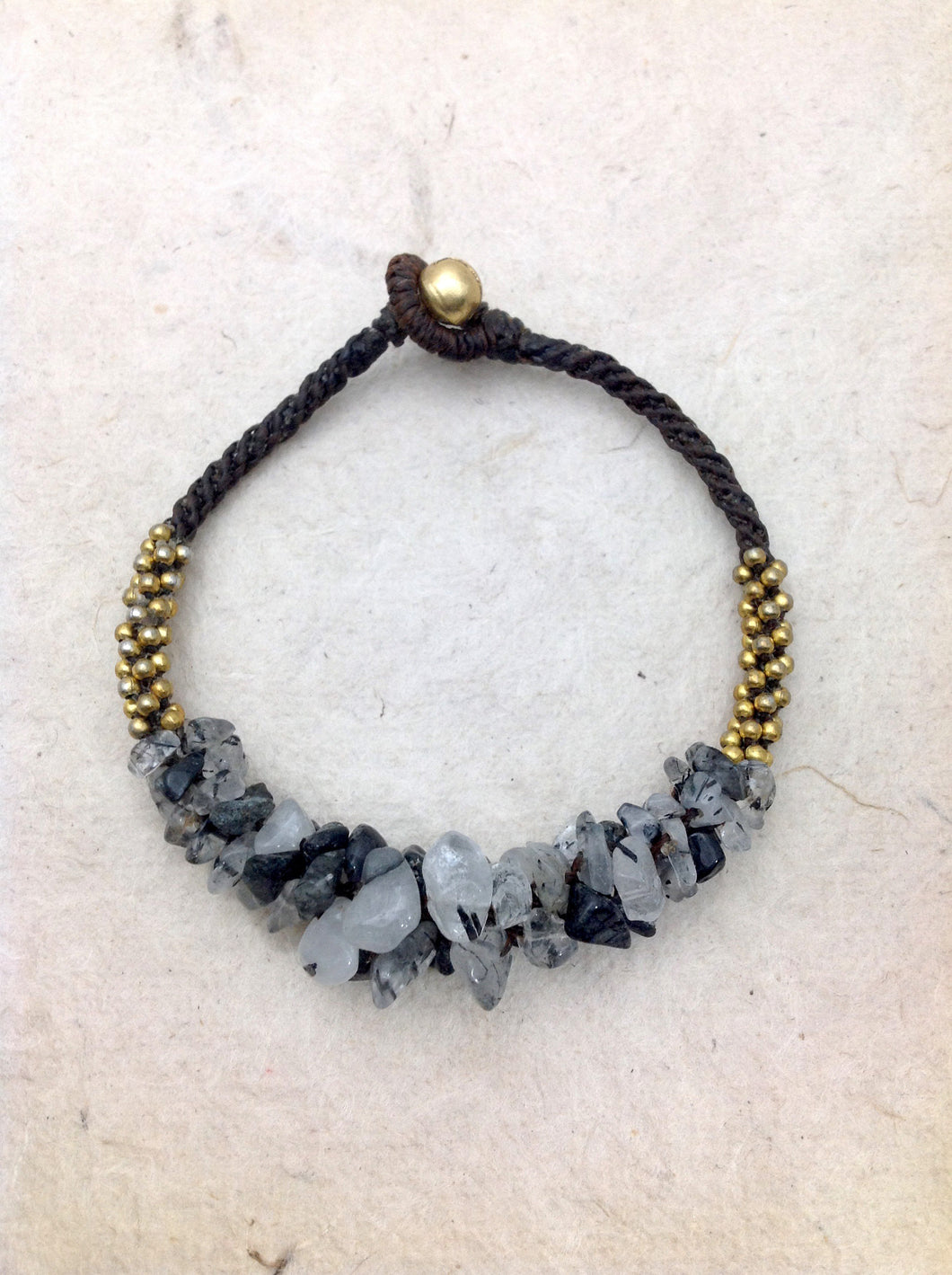 Agate (Grey) and Brass Beads 8.5