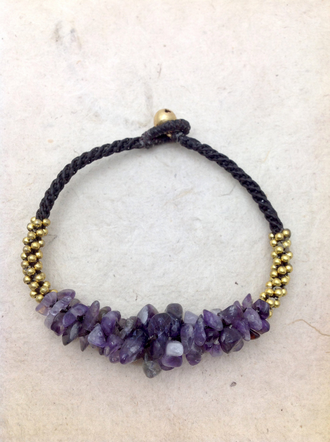 Amethyst with Brass Beads and Bell Bracelet