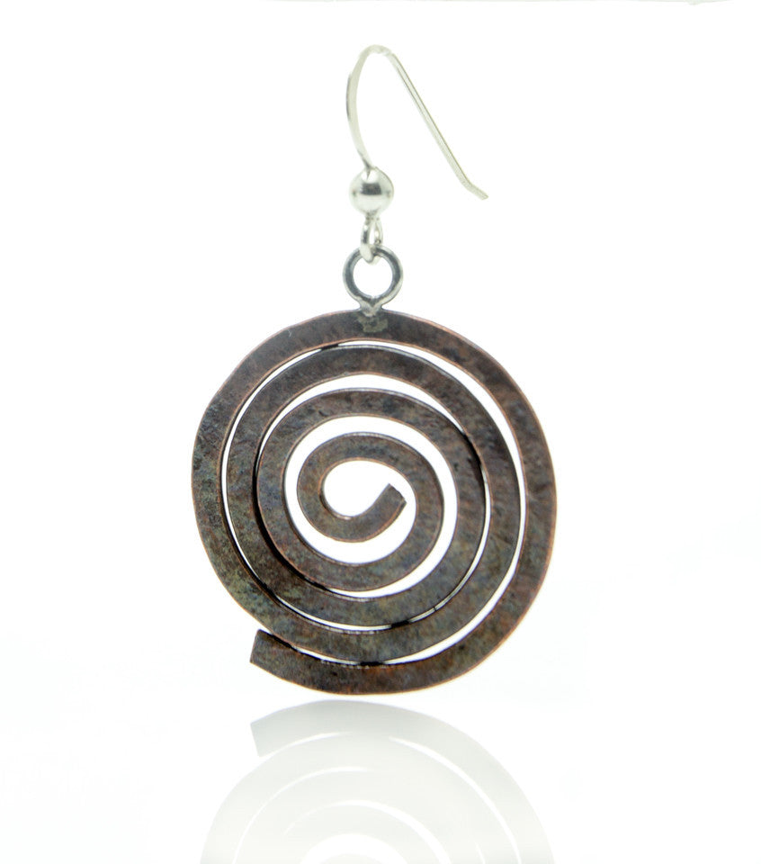 """Search"" Spiral Copper Earrings"
