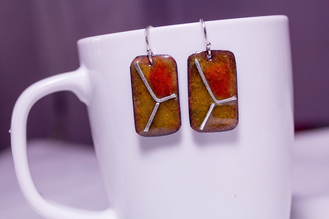 Enamel and silver on copper earrings