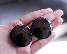 Enamel on Circular Copper Earrings