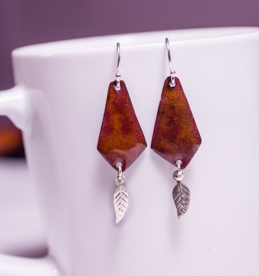Enamel ans silver on copper earrings