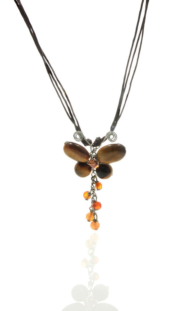 Butterfly Necklace of Tiger Eye and Carnelian