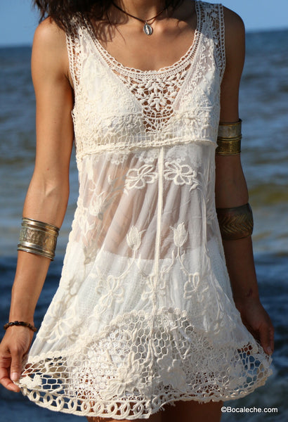 White Lace Cover Dress - BOCALECHE - 2