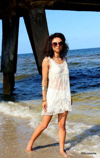 White Lace Cover Dress - BOCALECHE - 4