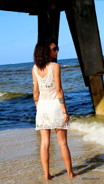 White Lace Cover Dress - BOCALECHE - 3