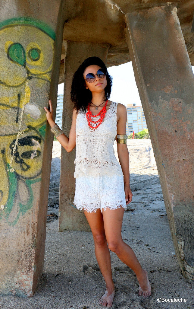 White Crochet Tank Top - BOCALECHE - 1