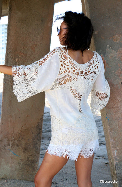 White Crochet Top - BOCALECHE - 6