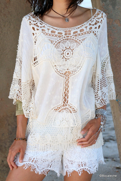White Crochet Top - BOCALECHE - 2