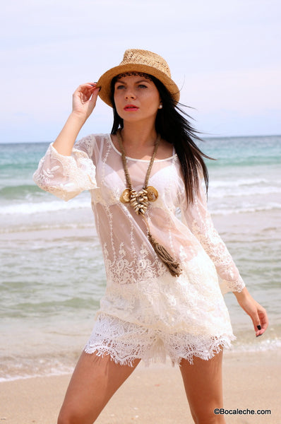 White Lace Top - BOCALECHE - 3