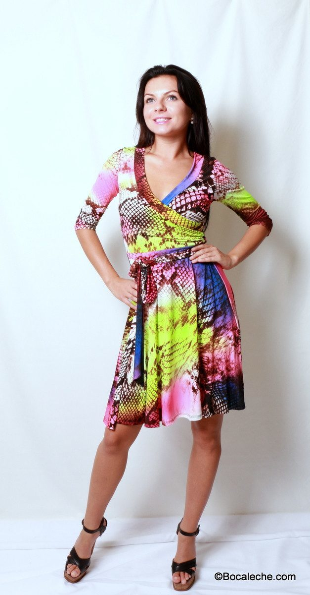 Neon Rainbow Snakeskin Dress - BOCALECHE - 1