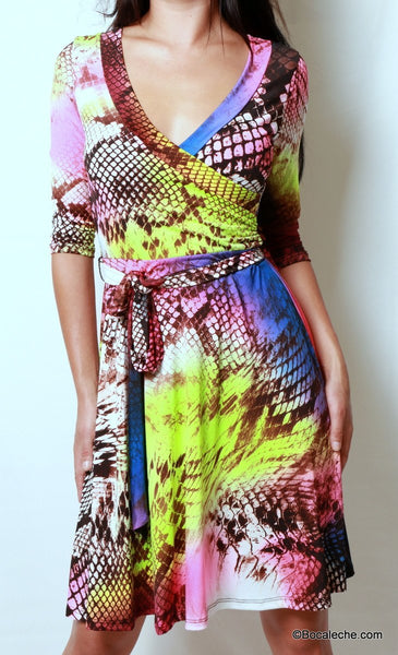 Neon Rainbow Snakeskin Dress - BOCALECHE - 2