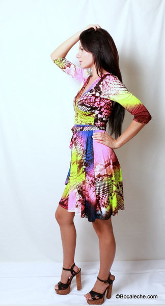 Neon Rainbow Snakeskin Dress - BOCALECHE - 3