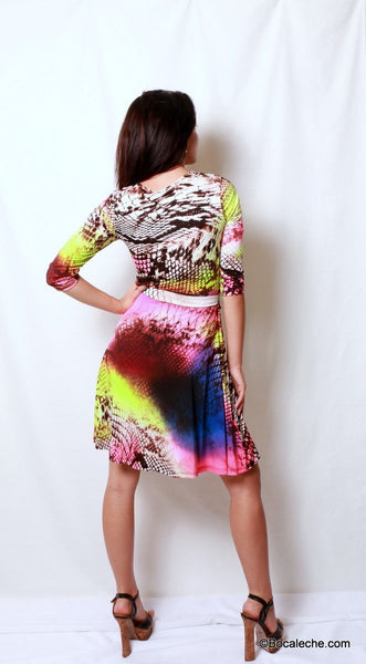 Neon Rainbow Snakeskin Dress - BOCALECHE - 4
