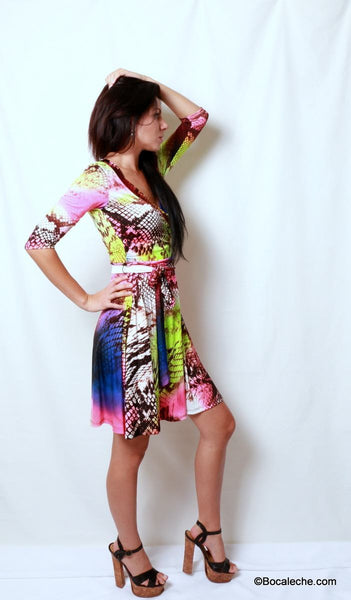 Neon Rainbow Snakeskin Dress - BOCALECHE - 5