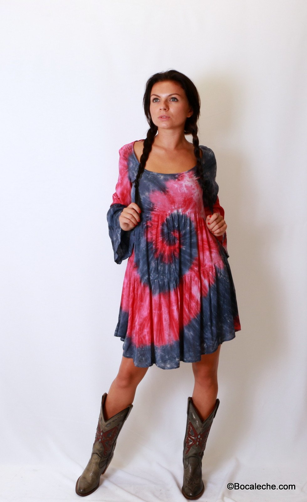 Splattered Tye-Dye Dress - BOCALECHE - 1