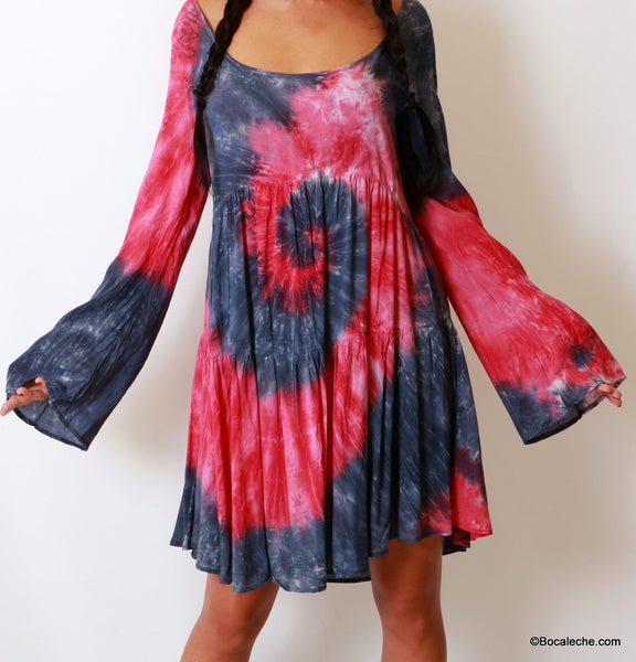 Splattered Tye-Dye Dress - BOCALECHE - 2