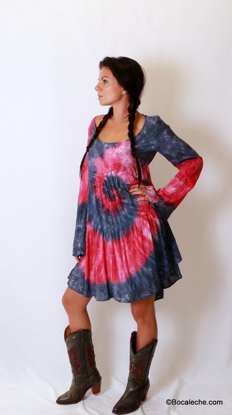 Splattered Tye-Dye Dress - BOCALECHE - 3